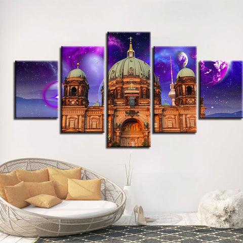 5 Panel Berlin Cathedral Purple Night Sky Modern Décor Wall Art Canvas HD Print