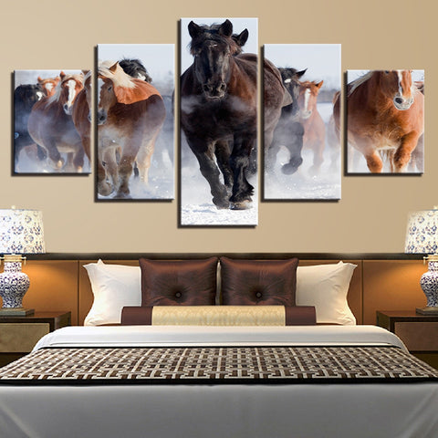 Canvas Prints Paintings Home Wall Art Framework 5 Pieces Galloping Horses Pictures Living Room Decor Winter Running Steed Poster