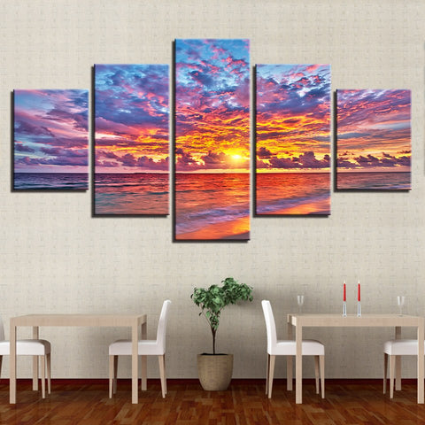 5 Panel Sunset Glow Clouds Beach Waves Seascape Modern Decor Canvas Wall Art HD Print