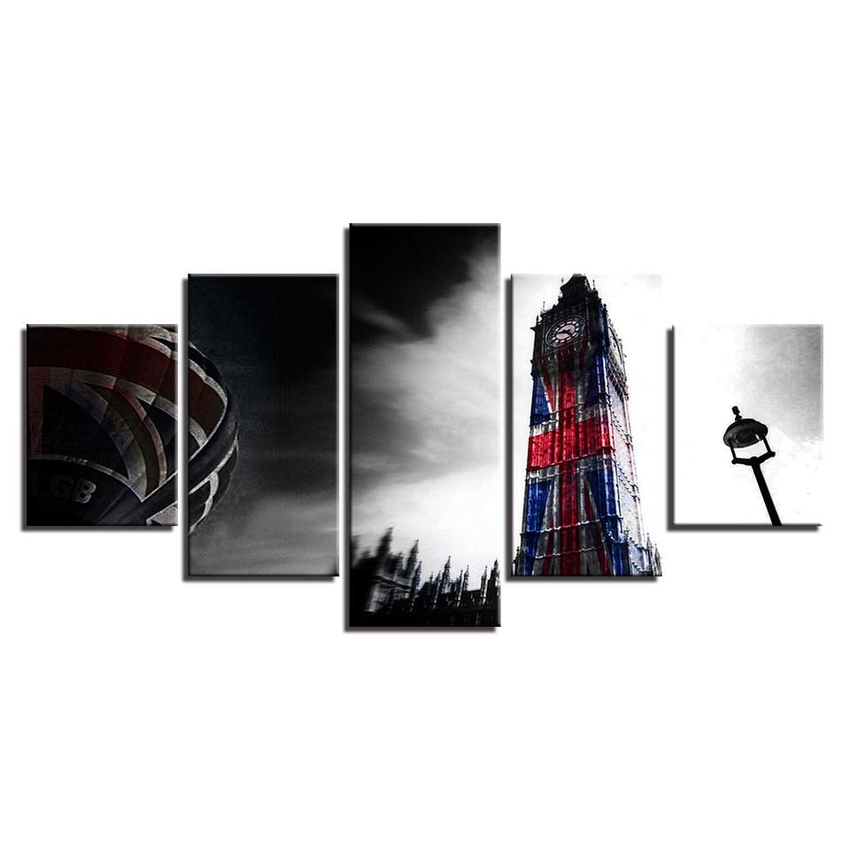5 Panel Big Ben Union Jacks Modern Décor Wall Art Canvas HD Print