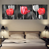 Canvas HD Prints Poster Home Decor Framework 3 Pieces Red And Gray Tulip Flower Painting Landscape Pictures Living Room Wall Art