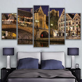 5 Panel Bridge In Bruges City Nightscape Modern Décor Canvas Wall Art HD Print