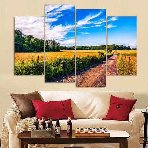 4 Panel Blue Sky Field Fashion Modern Decor Canvas Wall Art HD Print