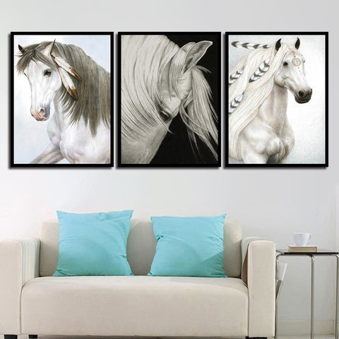 Nordic Style Animals White Horse Modern Decor Canvas Wall Art HD Print