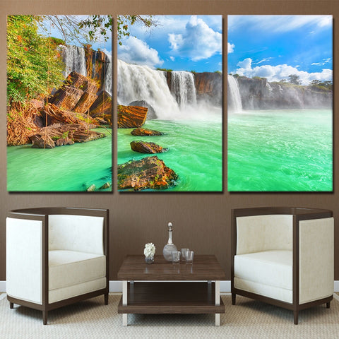 Canvas Wall Art Poster Living Room Home Decor Prints Pictures 3 Piece Waterfall Natural Landscape Green Lake Paintings Framework