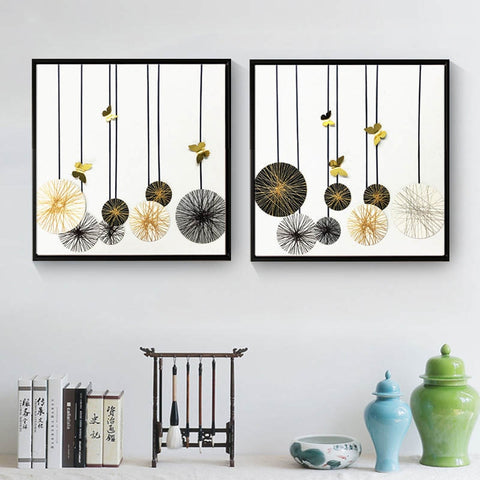 Nordic Style Abstract Geometric Fluffy Globes Canvas Wall Art HD Print