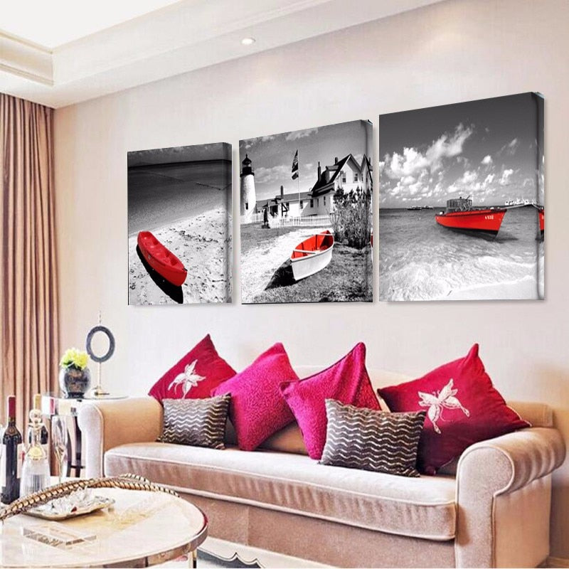 3 Panel Seaside With Red Boat Modern Decor Canvas Wall Art HD Print