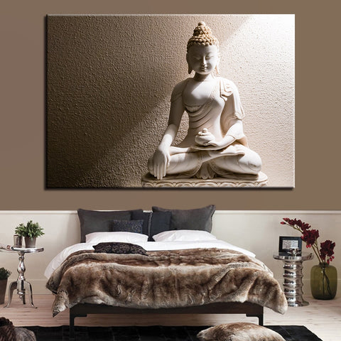 White Marble Buddha Modern Decor Canvas Wall Art HD Print