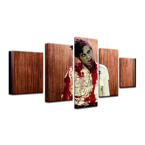 5 Panel Framed Movie Character Zombie Modern Décor Canvas Wall Art HD Print