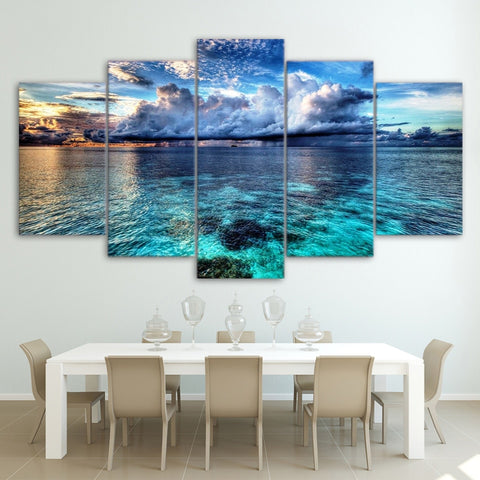 5 Panel Framed Cloudy Seascape Modern Décor Canvas Wall Art HD Print