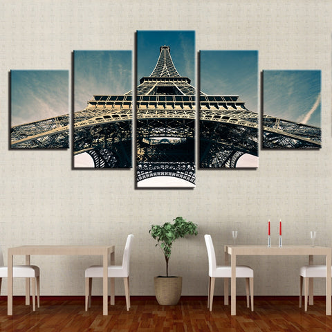 Canvas Paintings Wall Art Home Decor Modular HD Prints 5 Pieces Paris Eiffel Tower Pictures Sky Poster For Living Room Framework
