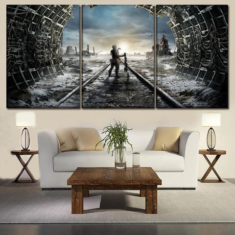 3 Panel Games Metro Exodus Landscape Modern Décor Wall Art Canvas HD Print
