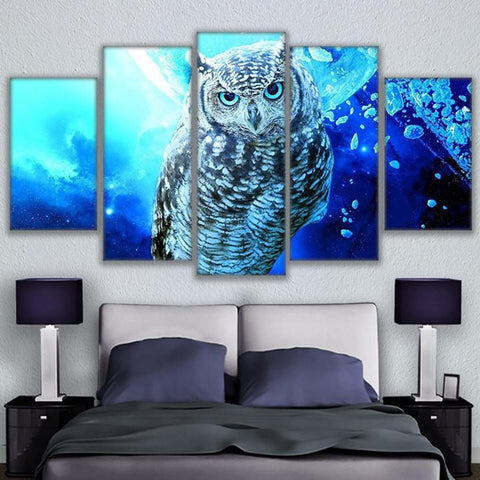 5 Panel Blue Owl Modern Décor Canvas Wall Art HD Print.