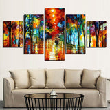 5 Panel Color Abstract Park Walking In The Rain Modern Decor Canvas Wall Art HD Print