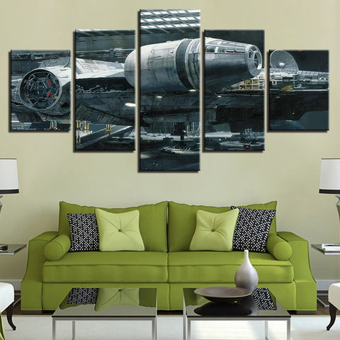 5 Panel Star Wars Millennium Falcon Modern Decor Canvas Wall Art HD Print