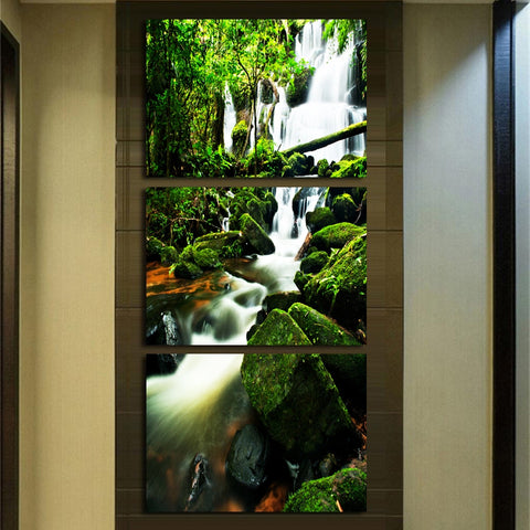 HD Prints Pictures Living Room Home Decor Posters 3 Pieces Virgin Forest Waterfall Landscape Canvas Paintings Wall Art Framework