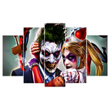 5 Panel Movie Joker and Harley Quinn Modern Décor Wall Art Canvas HD Print