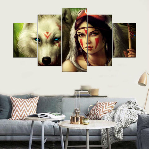 5 Panel Native American Indian Girl & Wolf Modern Décor Wall Art Canvas HD Print