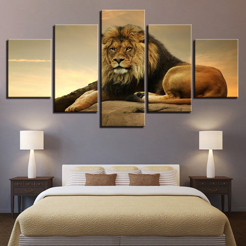 5 Panel Beautiful Lion Landscape Picture Modern Décor Wall Art Canvas HD Print