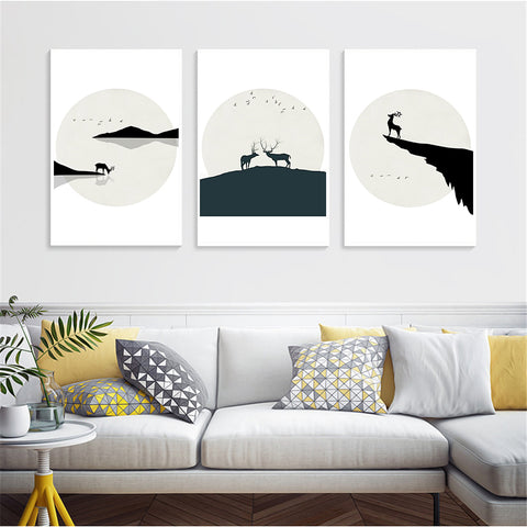 Nordic Style Watercolor Deer Animal Moon Mountain Modern Decor Canvas Wall Art HD Print