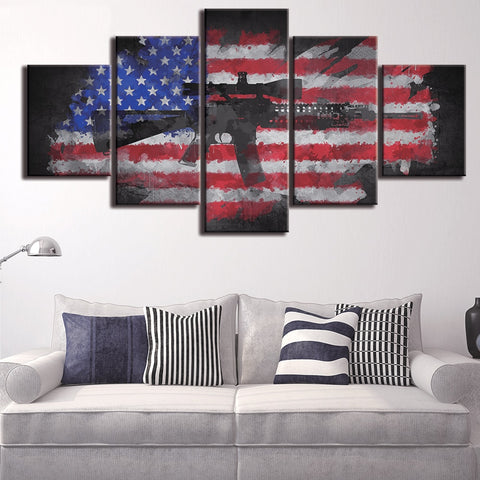 5 Panel Faded American Flag & Rifle Modern Décor Wall Art Canvas HD Print