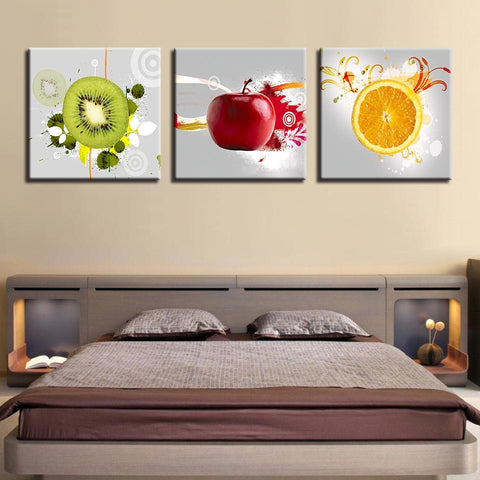 3 Piece Apple Orange Kiwi Fruits Modern Canvas Wall Art