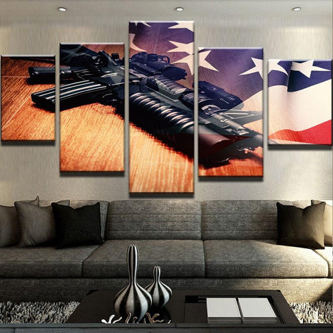 5 Panel American Flag With Gun Modern Decor Canvas Wall Art HD Print