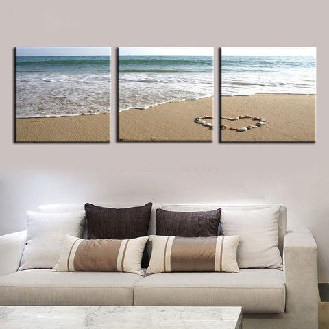 3 Panel Love Heart Stones on Beach Modern Decor Canvas Wall Art HD Print