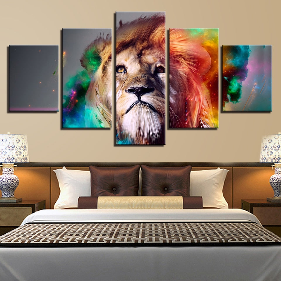 5 Panel Colorful Lion Photo Modern Décor Wall Art Canvas HD Print