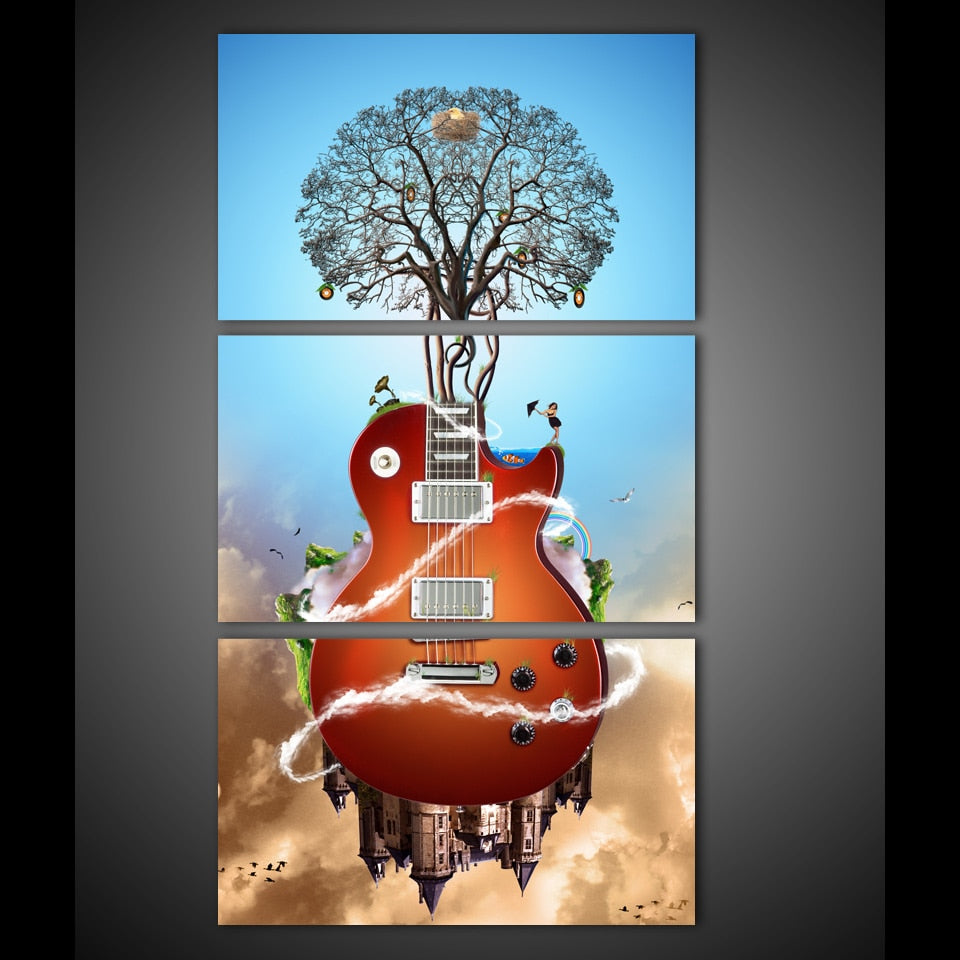 3 Panel Framed Abstract Guitar Modern Décor Canvas Wall Art HD Print