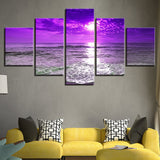 Home Decor Canvas Pictures Wall Art Modular Framework 5 Pieces Purple Sunset Sea Waves Poster HD Prints Beach Seascape Paintings