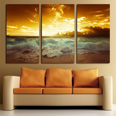 3 Panel Beach Sunset Modern Decor Canvas Wall Art HD Print