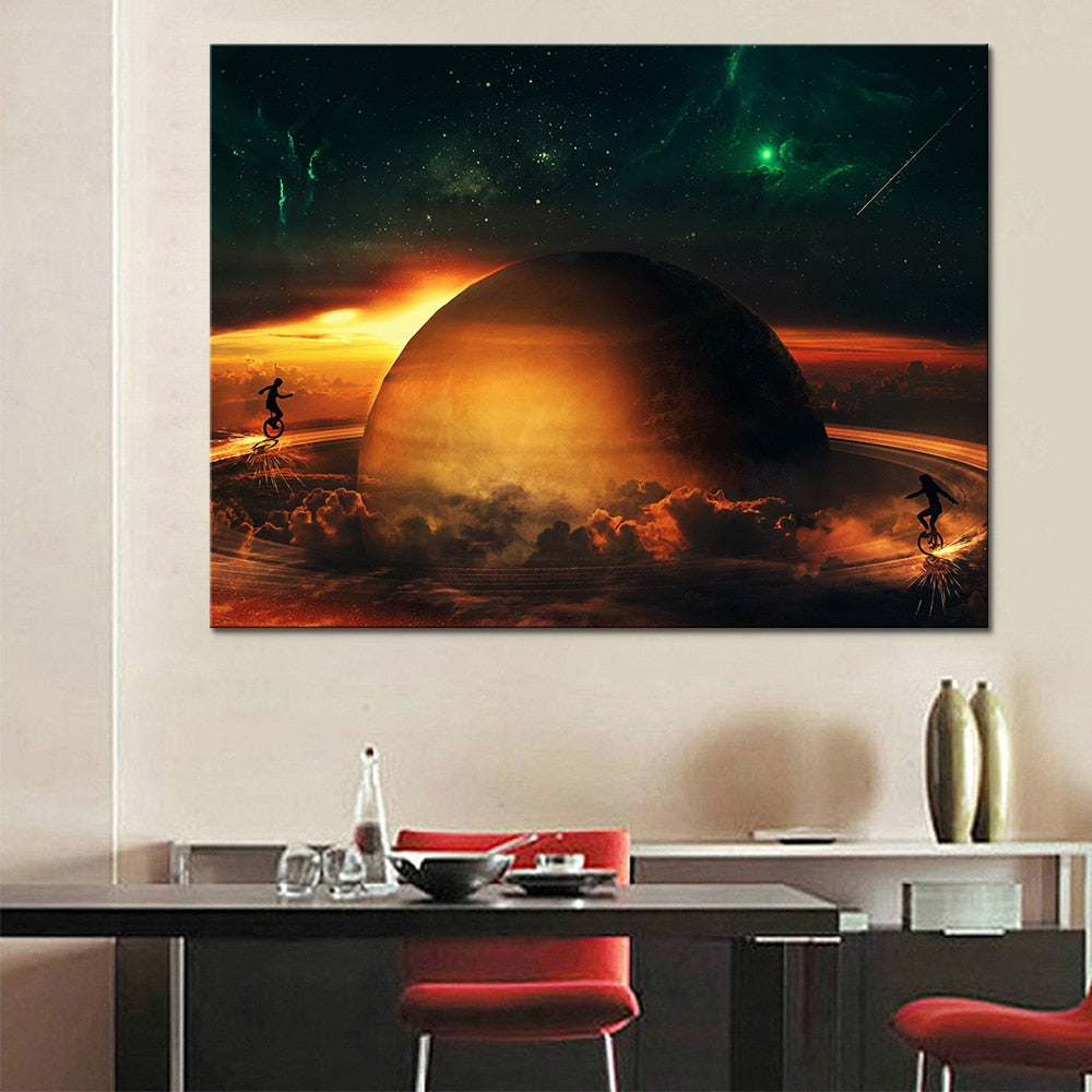 Canvas HD Prints Poster 1 Piece/Pcs Universe Space Planet Pictures Abstract Paintings Wall Art Framework Living Room Home Decor