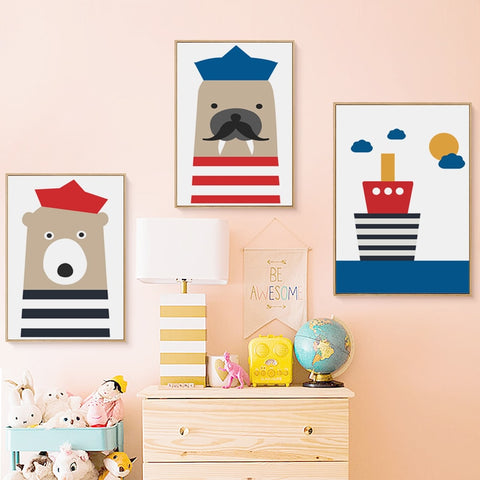 Nordic Sailor Animals Cartoon Canvas Painting Kid Room