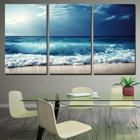 3 Panel Blue Waves Before The Storm Modern Decor Canvas Wall Art HD Print