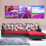 3 Piece Lavender Modern Decor Canvas Wall Art HD Print