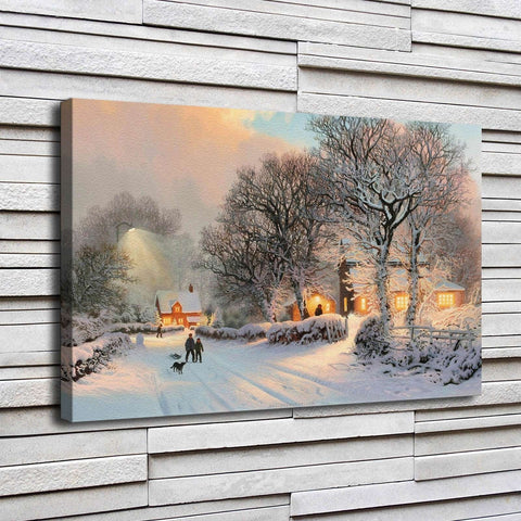 1 Pc Winter Village Snow Scene Canvas Wall Art HD Print