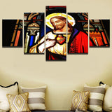 5 Panel Sacred Heart Of Jesus Modern Decor Canvas Wall Art HD Print