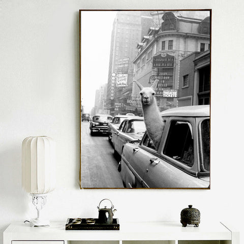 Nordic Funny Alpaca Black White Modern Decor Canvas Wall Art HD Print