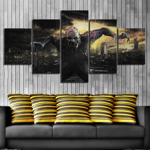 5 Panel Framed Dying Light Zombie Game Modern Décor Canvas Wall Art HD Print