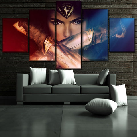 5 Panel Framed Wonder Woman Up Close Modern Décor Canvas Wall Art HD Print