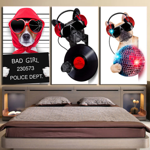 3 Pieces Musical Bulldog  Modern Canvas Wall Art HD Print
