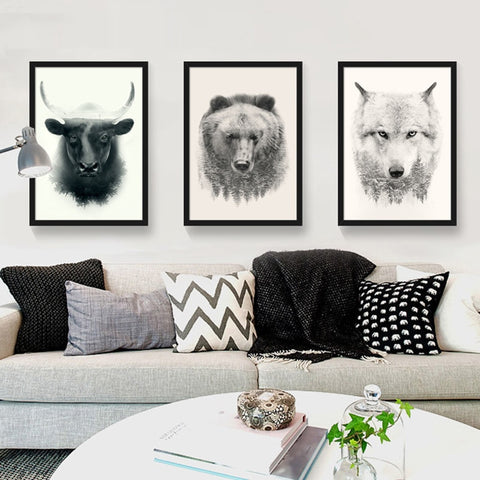Nordic Style Bull Bear Wolf Animal Modern Decor Canvas Wall Art HD Print