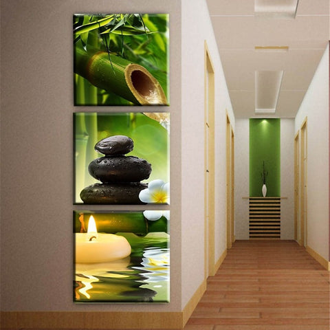3 Panel Bamboo Stone Candle Modern Decor Canvas Wall Art HD Print
