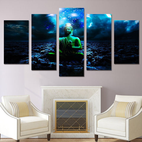 5 Panel Buddha With Stars Modern Decor Canvas Wall Art HD Print