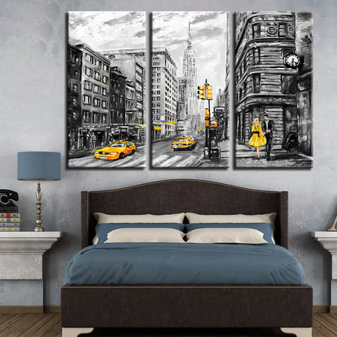 3 Panel New York City Street Yellow Taxi Car Modern Décor Canvas Wall Art HD Print