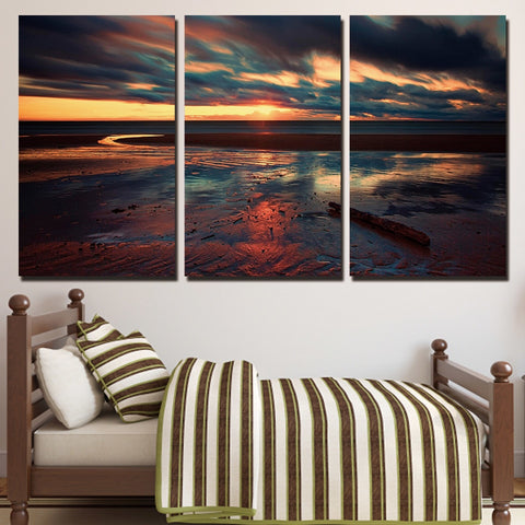 3 Panel Sunset Beach Clouds Modern Decor Canvas Wall Art HD Print