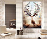 Abstract Posters HD Prints Canvas Wall Art Framework 3 Pieces Dream Forest Elk Paintings Home Decor Deer Flower Antler Pictures