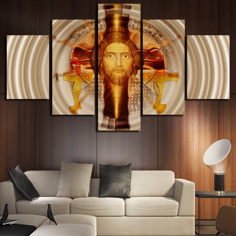 5 Panel Jesus Landscape Modern Decor Canvas Wall Art HD Print