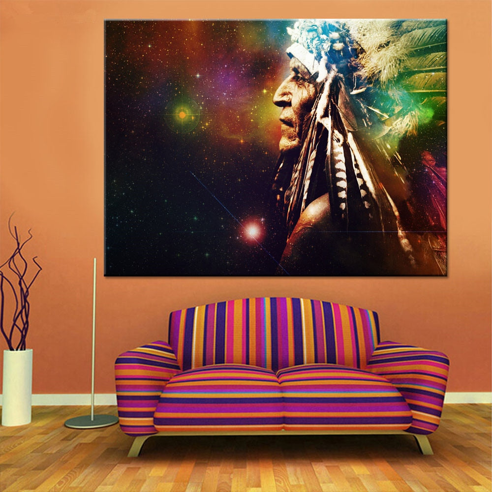 Native American Man With Headdress Modern Decor Canvas Wall Art HD Print